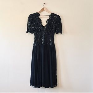 36dd8f957b Vintage 1980s black sequin cocktail dress formal S